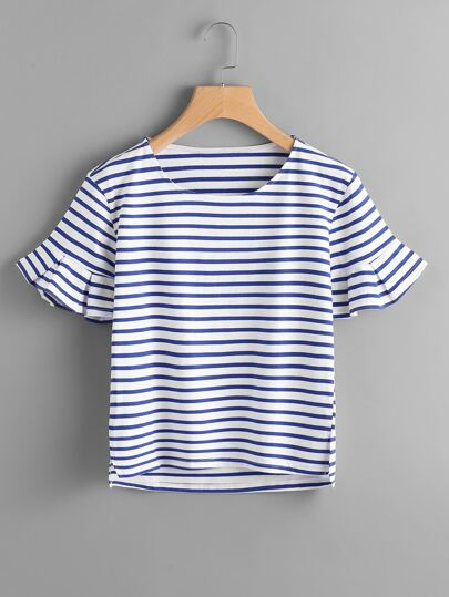 Slit Side High Low Frill Cuff Striped Tee