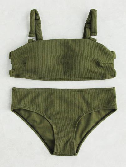 Army Green Ribbed Cut Out Bikini Set