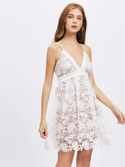 Tie Back Lace Overlap Babydoll Dress