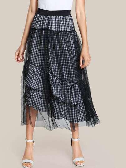 Gingham Mesh Overlay Skirt BLACK