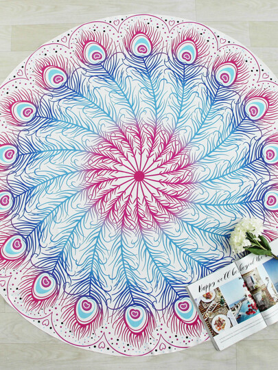 Ombre Feather Print Round Beach Blanket