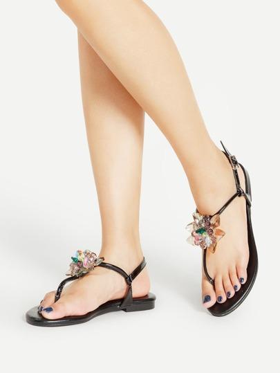 Sandalias planas de pu con flor de cristal y tira en el dedo