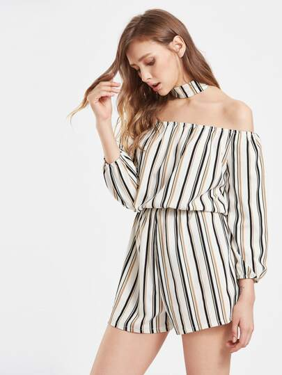 Vertical Striped Off Shoulder Romper
