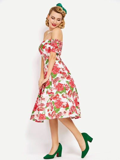Allover Rose Print Bardot Fit & Flare Dress