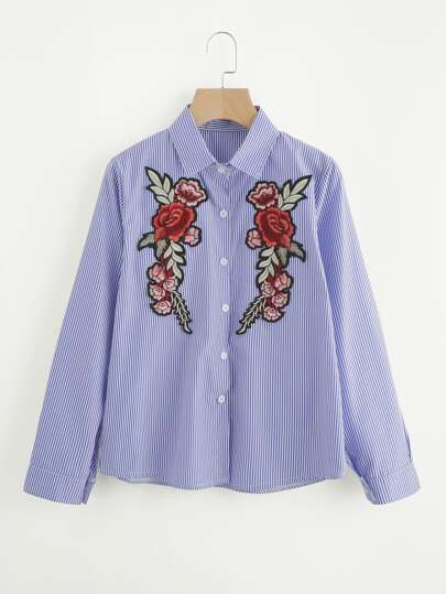 Embroidered Appliques Vertical Striped Shirt