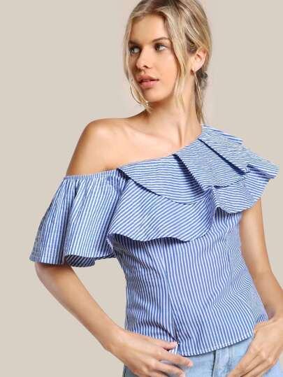 Striped Single Shoulder Shirt BLUE