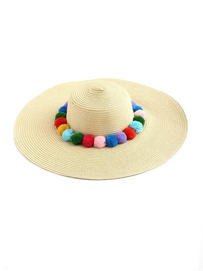 Pom Pom Embellished Floppy Hat