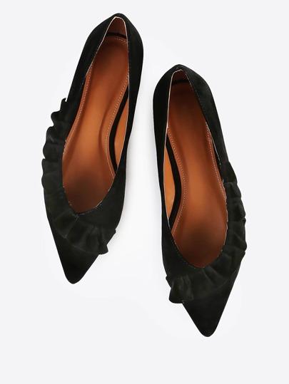 Frilly Trim Velvet Flats BLACK