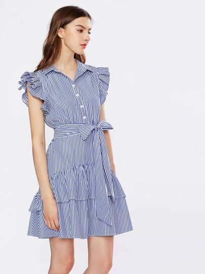 Flutter Sleeve Belted Layered Hem Shirt Dress