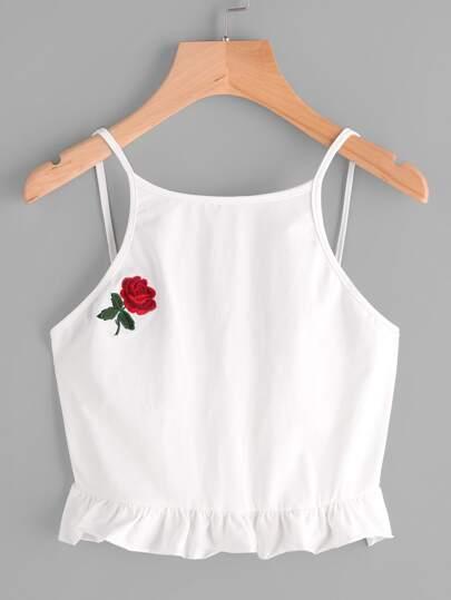 Top brodé des roses avec des plis