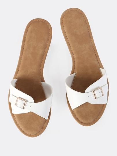 Buckle Slip On Sandals WHITE