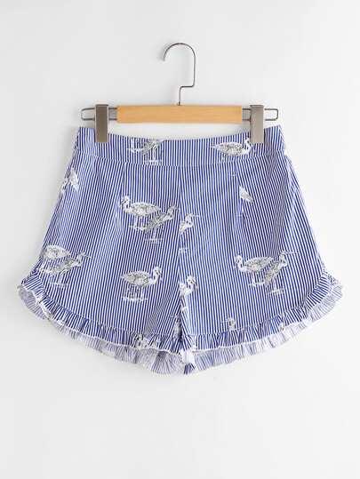 Shorts mit Raffung, Vogelmuster und Streifen