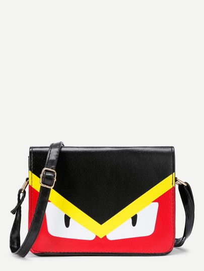 Graphic Print PU Shoulder Bag With Adjustable Strap