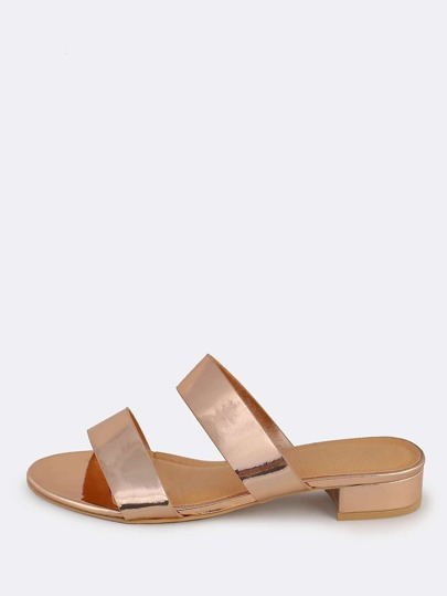 Metallic Double Band Mules ROSE GOLD