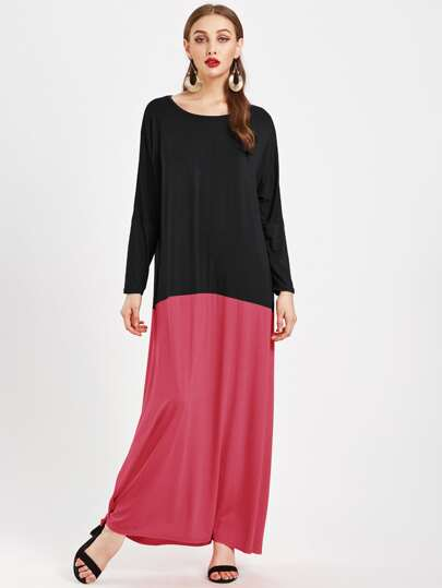 Color Block Full Length Kaftan Dress