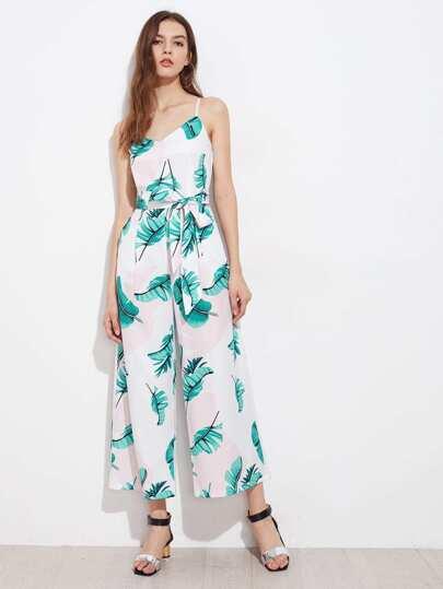 Cami Jumpsuit mit Blättermuster und Random Knoten Taille