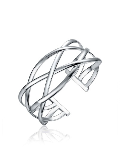 Criss Cross Design Plated Bangle
