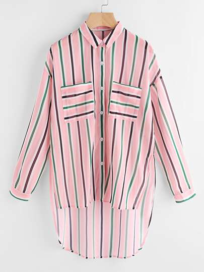 Patch Pocket Front Stepped Hem Striped Shirt