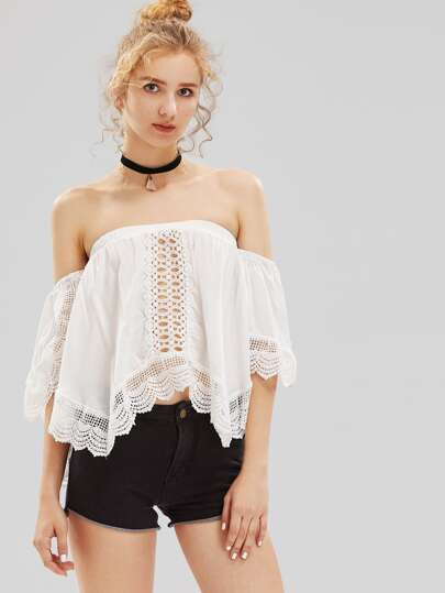 Hollow Out Crochet Insert Bardot Top