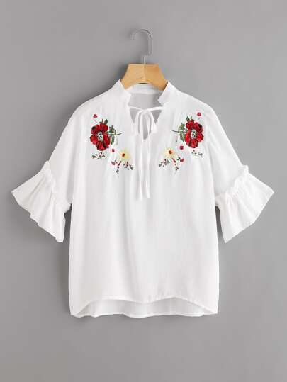 Symmetric Embroidery Frill Sleeve Blouse