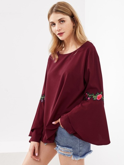 Embroidered Appliques Fluted Sleeve Blouse