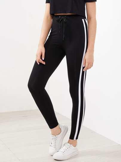 Pantalons rayure avec cordon de taille