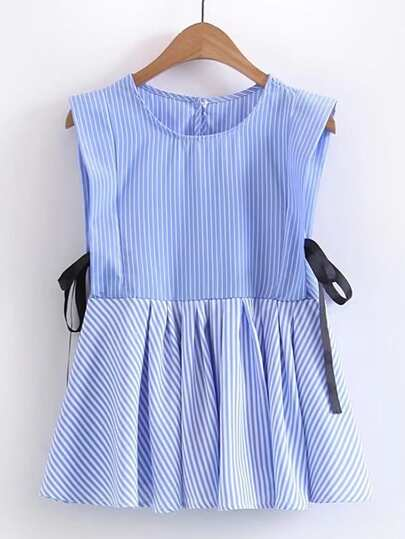 Contrast Striped Ribbon Tie Pleated Top