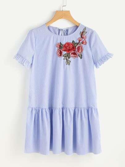 Flower Patch Keyhole Tie Back Smock Dress