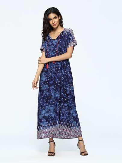 Geo Print Drawstring Neck Maxi Long Dress