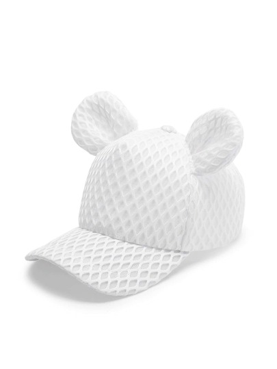 Net Overlay Cute Ear Baseball Cap