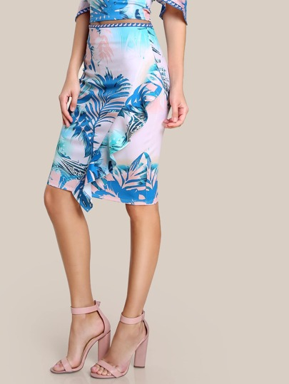 High Rise Ruffle Front Bodycon Skirt BLUE