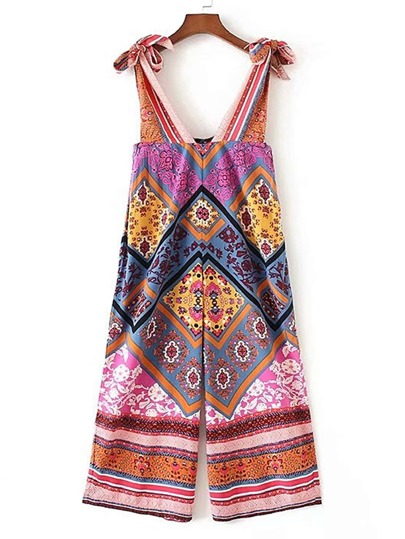 Tribal Print Knot Detail Playsuit