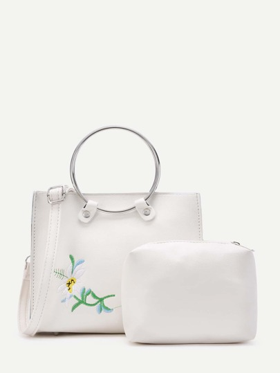 Flower Embroidery PU Shoulder Bag With Clutch