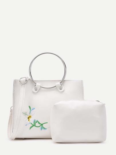 Borsa da spalla di PU con ricamo di fiore ,con pochette