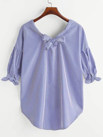 Knotted Back Tie Cuff Drop Shoulder Blouse