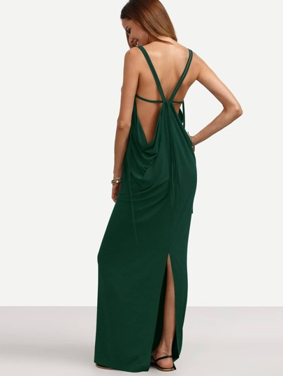 Caged Draped Back Slit Dress