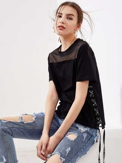 Fishnet Yoke Eyelet Lace Up Side T-shirt