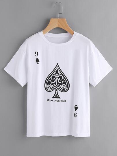 T-Shirt mit sehr tief angesetzter Schulterpartie