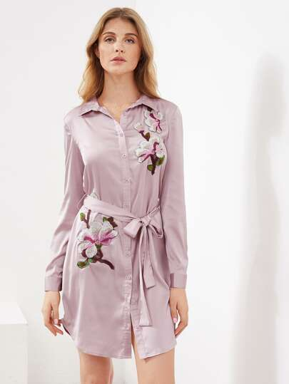 Self Belted Dolphin Hem Embroidered Patch Satin Dress