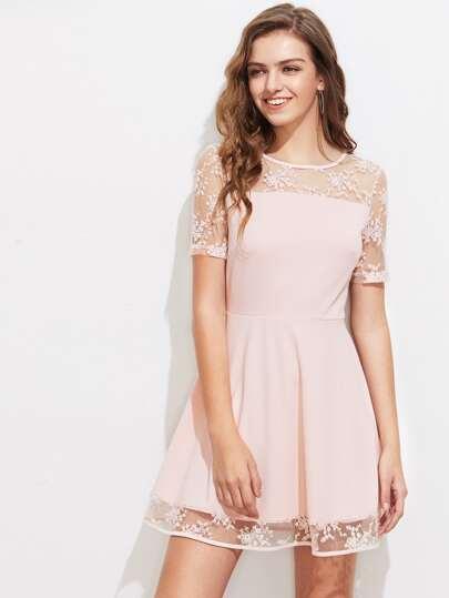 Floral Lace Overlay Skater Dress