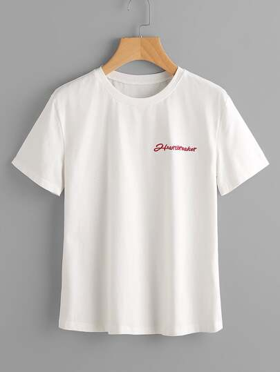 Camiseta de mangas cortas con bordado