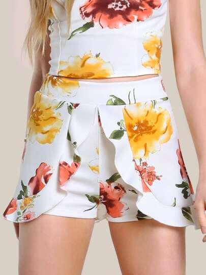 Floral Print Ruffle Shorts WHITE