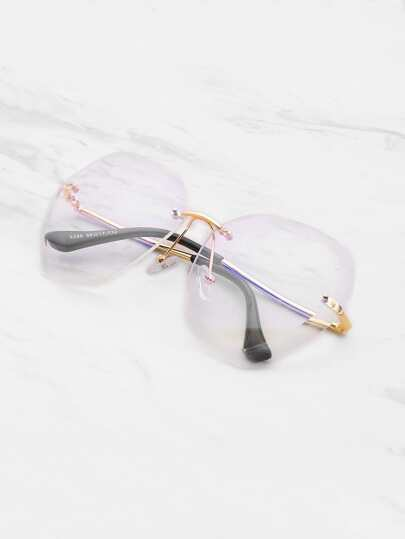 Clear Lens Rimless Oversized Glasses