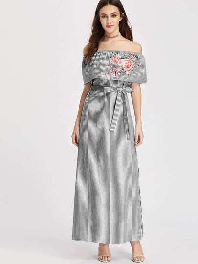 Embroidered Flounce Off Shoulder Belted Striped Dress