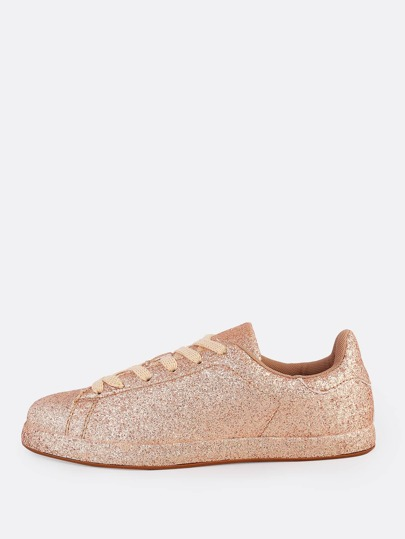 Glitter Lace Up Sneakers ROSE GOLD