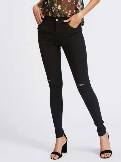 Knee Ripped Skinny Pants