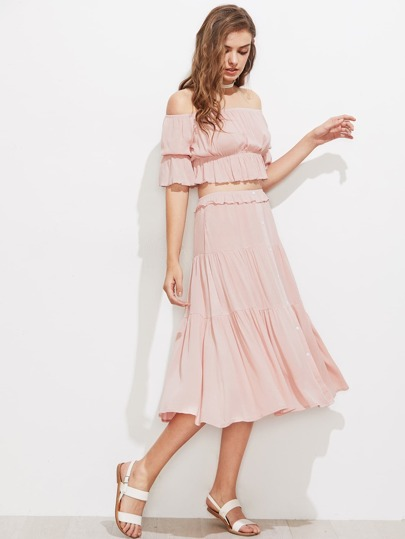 Shirred Ruffle Bardot Top & Tiered Skirt Co-Ord