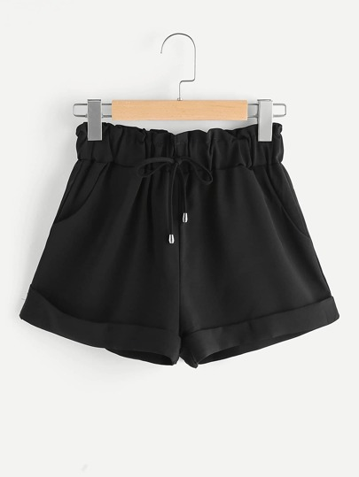 Shorts mit Gummiband Taille und Rolleärmeln