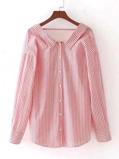 Vertical Striped Open Back Blouse