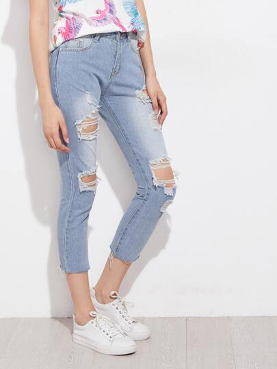 Distressed Raw Hem Capri Jeans